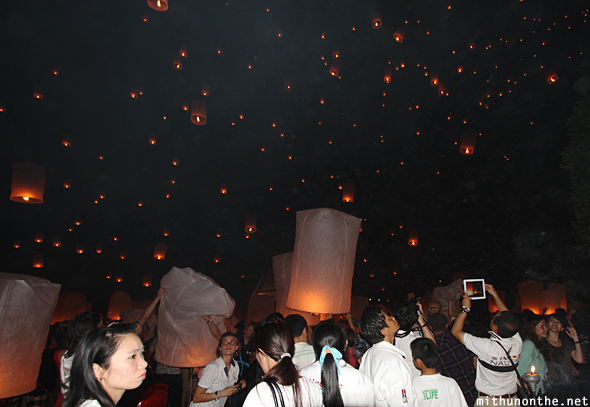 Lantern festival with flash