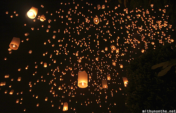 Lanterns floating away Loi Krathong