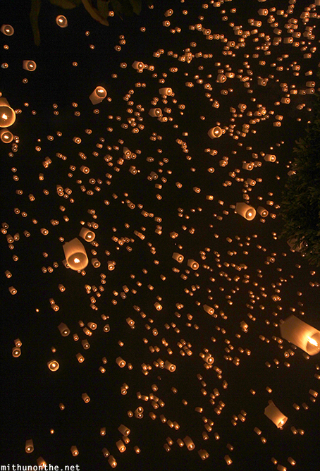 Lanterns floating night sky Chiang Mai