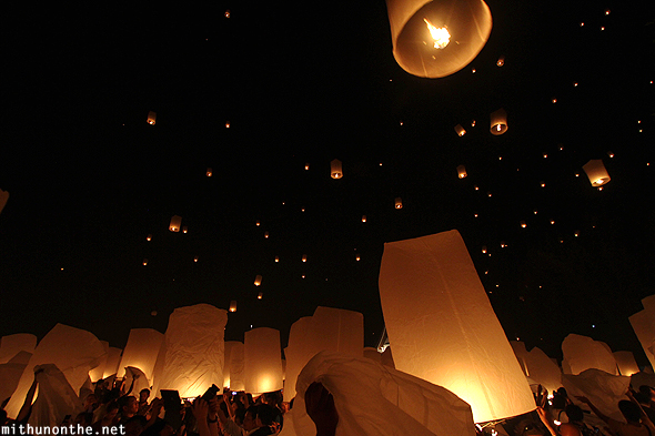 Lanterns night sky Chiang Mai