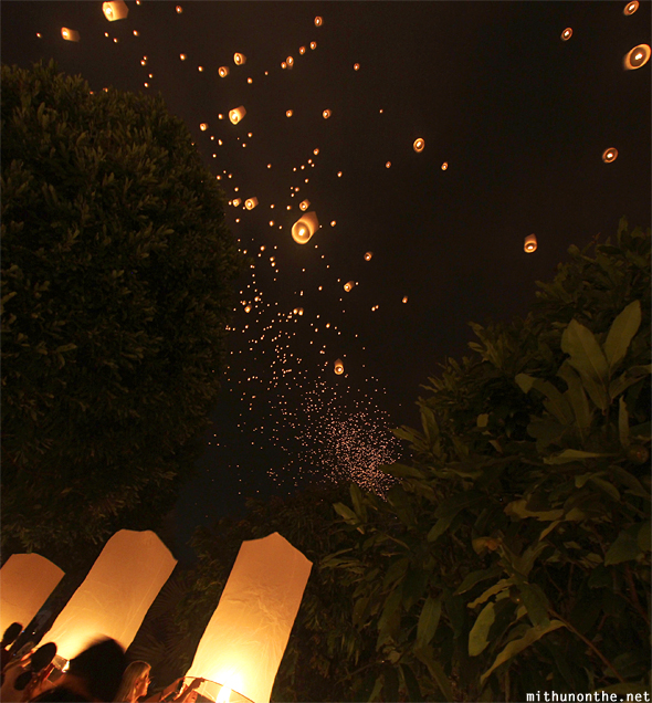Lanterns night sky Chiang Mai Thailand