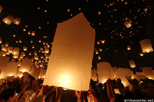 Paper lanterns floating Chiang Mai Thailand