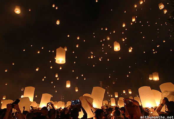 Paper lanterns rising up Thailand