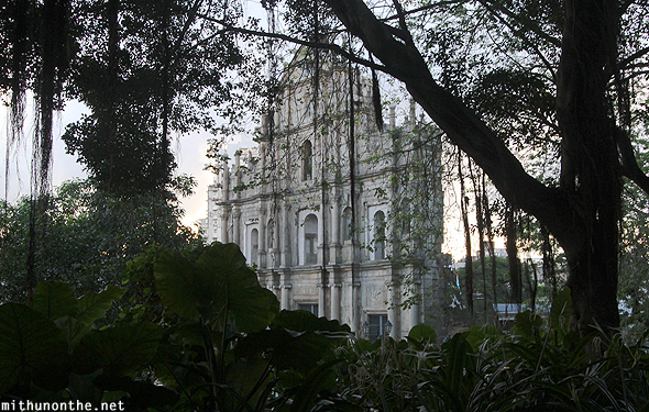 Ruins of St. Paul through trees Macau