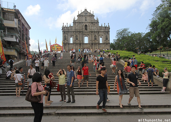 Tourists in front of St.Paul Cathedral Macau