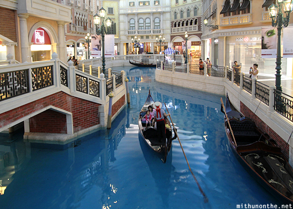 Venetian gondola ride canal Macau China