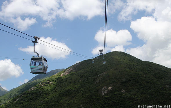 Cable car going uphill Ngong Ping
