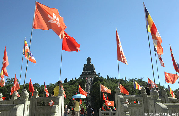 Big Buddha hill Hong Kong flags