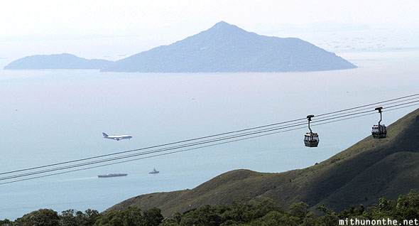Plane landing cable car Lantau Hong Kong