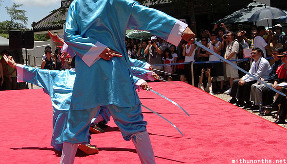 Shaolin martial arts display swords