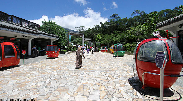 World cable car pods display Ngong Ping