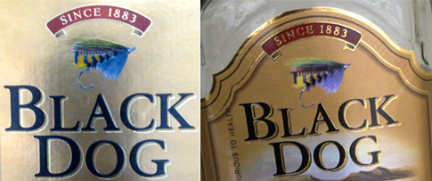 Black Dog box bottle