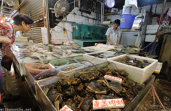 Crabs seafood wet market Hong Kong