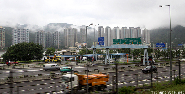 Hong Kong highway apartments outskirts
