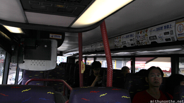 Inside airport bus Hong Kong
