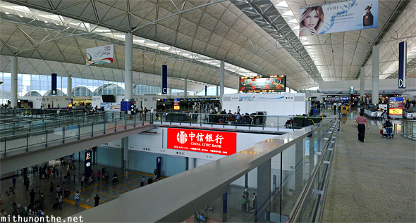 Hong Kong airport departures panorama