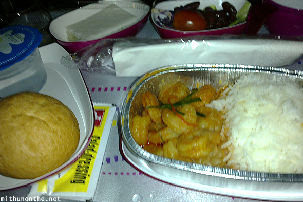 Prawn meal Thai airways Bangalore flight