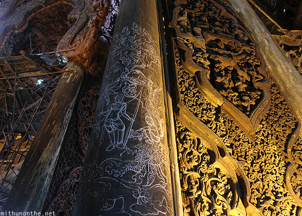 Drawing pillar Sanctuary of Truth Thailand