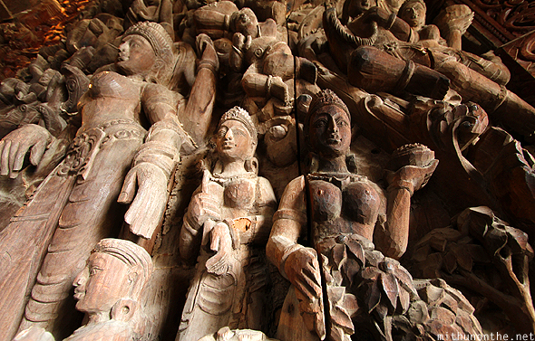 Indian carvings wooden temple Thailand