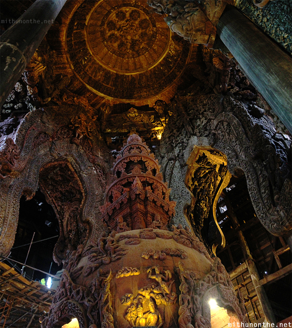 Inside Sanctuary of Truth wooden carvings