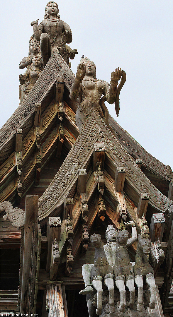 Wooden temple Sanctuary of Truth roof Pattaya