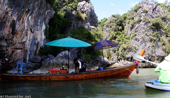 Ice cream boat Phang Nga bay Thailand