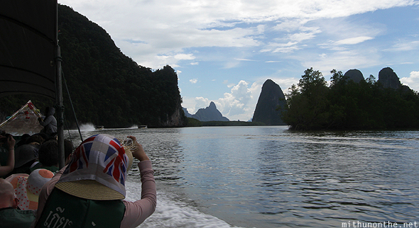 Tourists Phang Nga bay Thailand