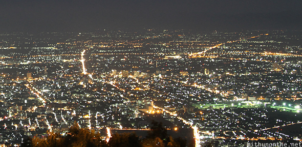 Chiang Mai night lights from Doi Suthep hill