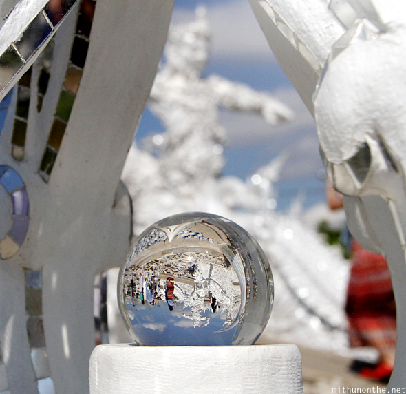 Crystal ball reflection White Temple