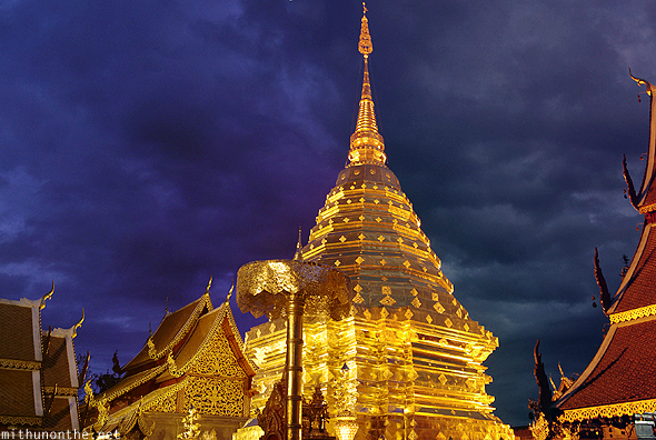 Doi Suthep golden temple at night Thailand