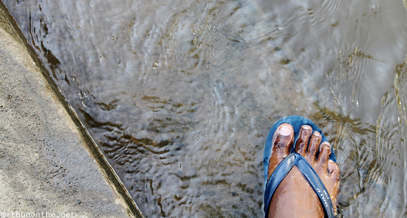 Foot in water Thailand river