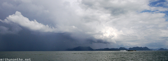 Phang Nga bay rain clouds Thailand