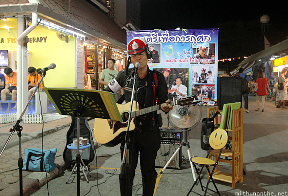 Singing police man Chiang Mai night market