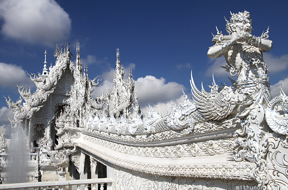 White temple main hall Chiang Rai Thailand