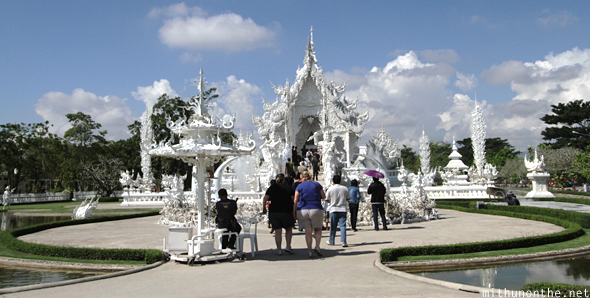 White temple tourists Chiang Rai