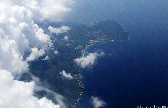 Aerial view Philippines clouds blue ocean