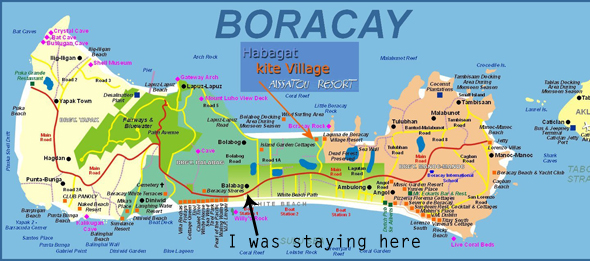 Boracay map with hotels