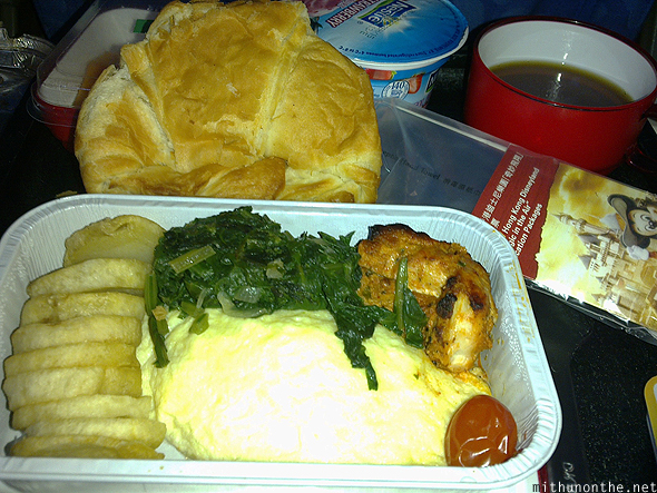 Dragon Air flight chicken meal