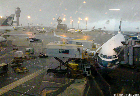 Hong Kong airport heavy rain