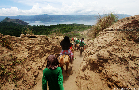Horse ride down Taal volcano island Philippines
