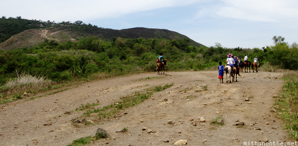 Horse riding to Taal volcano lake