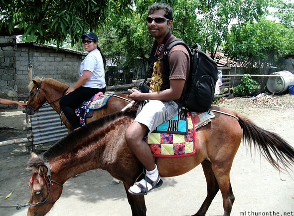 Mithun and Janet on horses