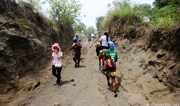 Riding uphill Taal volcano island