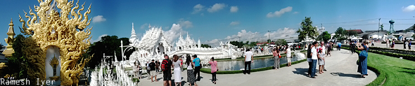 White temple Chiang Rai panorama