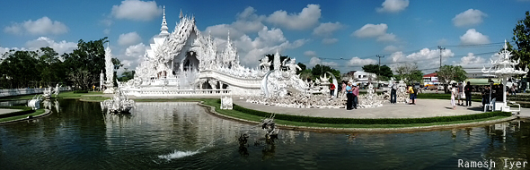 White temple Thailand panorama