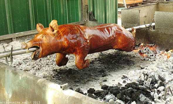 Lechon whole roast pig Boracay Philippines