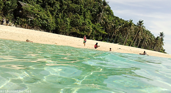 Puka beach in water Boracay