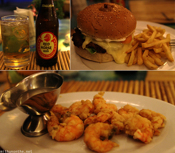 Red Horse beer burger prawns Boracay