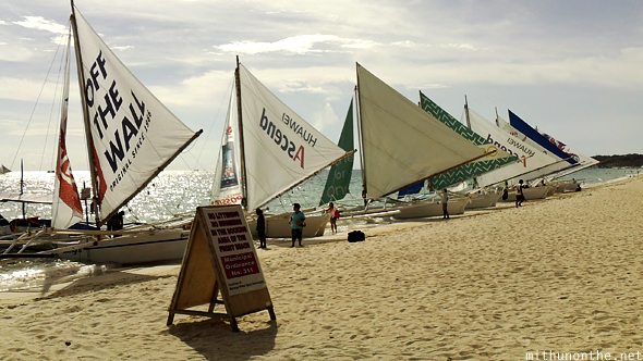 Sail boats white Beach Boracay