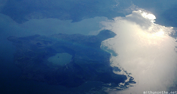 Volcano lake island aerial view Philippines